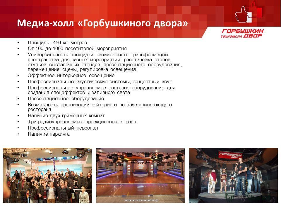 Медиа-холл «Горбушкиного двора» Площадь -450 кв. метров От 100 до 1000 посетителей мероприятия Универсальность площадки - возможность трансформации пространства для разных мероприятий: расстановка столов, стульев, выставочных стендов, презентационног