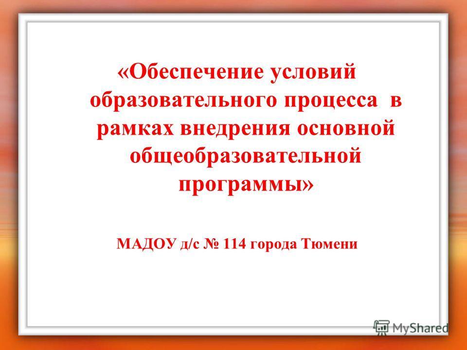 «Обеспечение условий образовательного процесса в рамках внедрения основной общеобразовательной программы» МАДОУ д/с 114 города Тюмени
