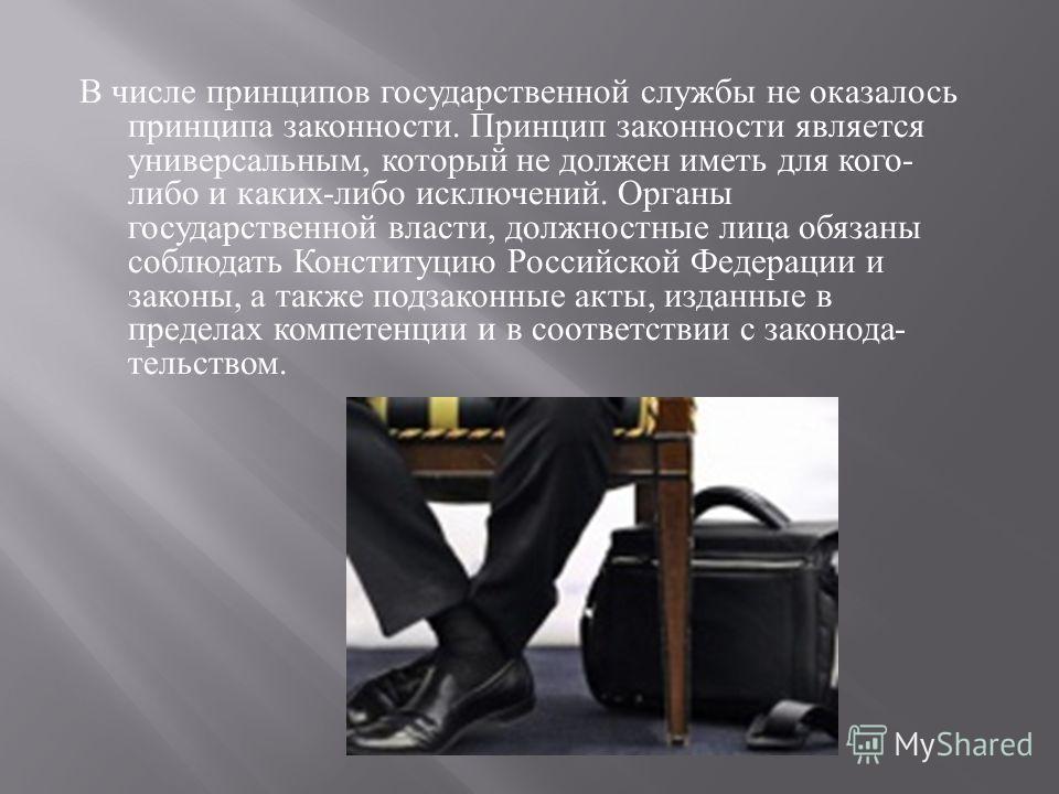В числе принципов государственной службы не оказалось принципа законности. Принцип законности является универсальным, который не должен иметь для кого - либо и каких - либо исключений. Органы государственной власти, должностные лица обязаны соблюдать