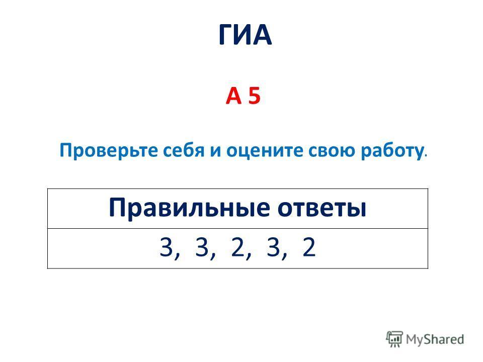 Правильные ответы 3, 3, 2, 3, 2 ГИА А 5 Проверьте себя и оцените свою работу.
