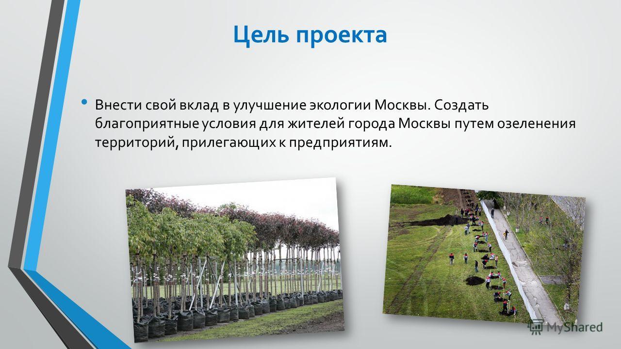 Цель проекта Внести свой вклад в улучшение экологии Москвы. Создать благоприятные условия для жителей города Москвы путем озеленения территорий, прилегающих к предприятиям.