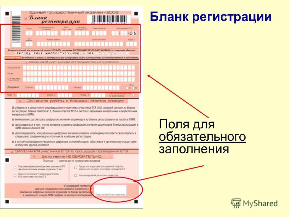 Бланк регистрации Поля для обязательного заполнения