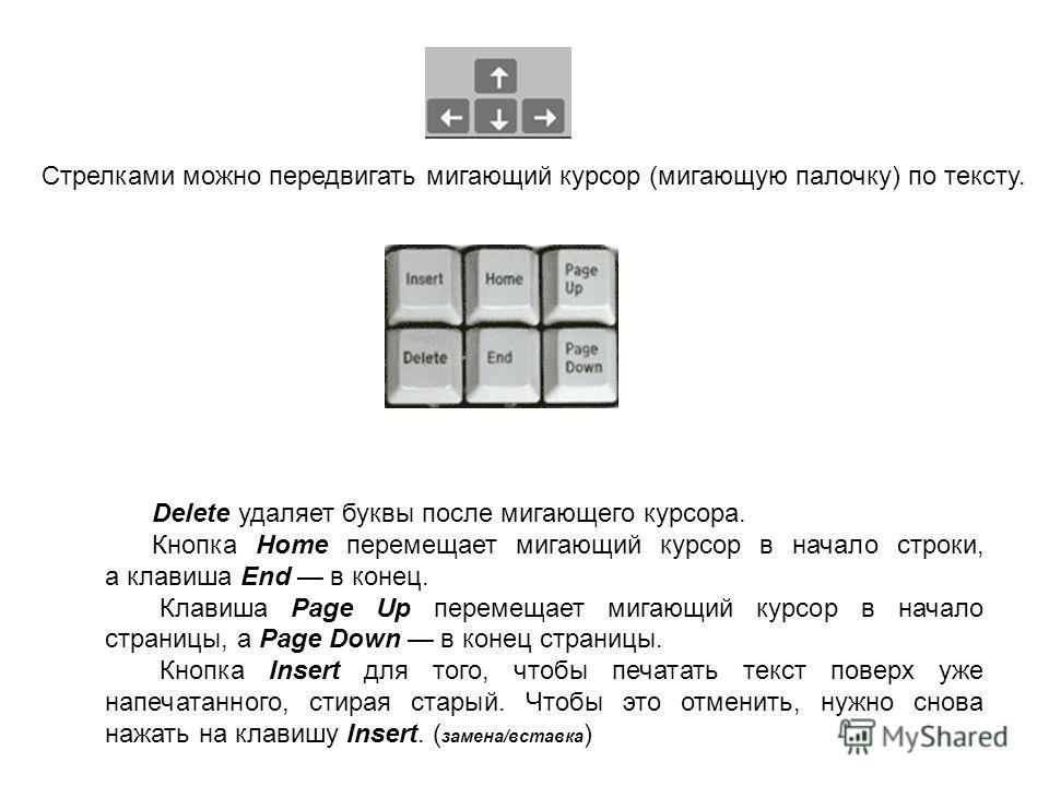 Delete удаляет буквы после мигающего курсора. Кнопка Home перемещает мигающий курсор в начало строки, а клавиша End в конец. Клавиша Page Up перемещает мигающий курсор в начало страницы, а Page Down в конец страницы. Кнопка Insert для того, чтобы печ