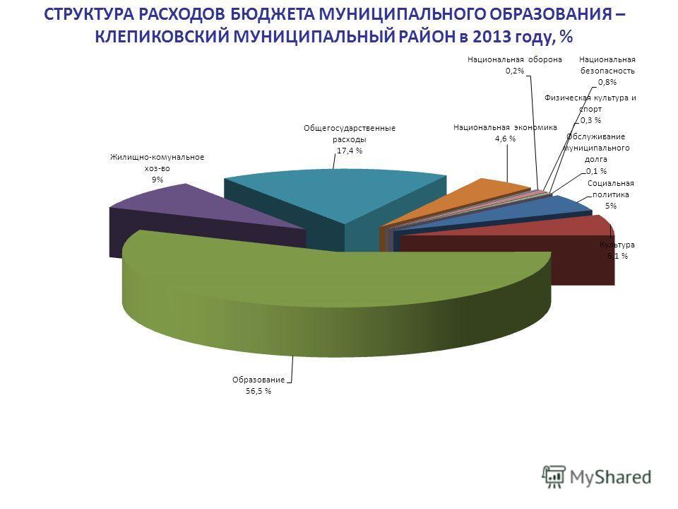 СТРУКТУРА РАСХОДОВ БЮДЖЕТА МУНИЦИПАЛЬНОГО ОБРАЗОВАНИЯ – КЛЕПИКОВСКИЙ МУНИЦИПАЛЬНЫЙ РАЙОН в 2013 году, %