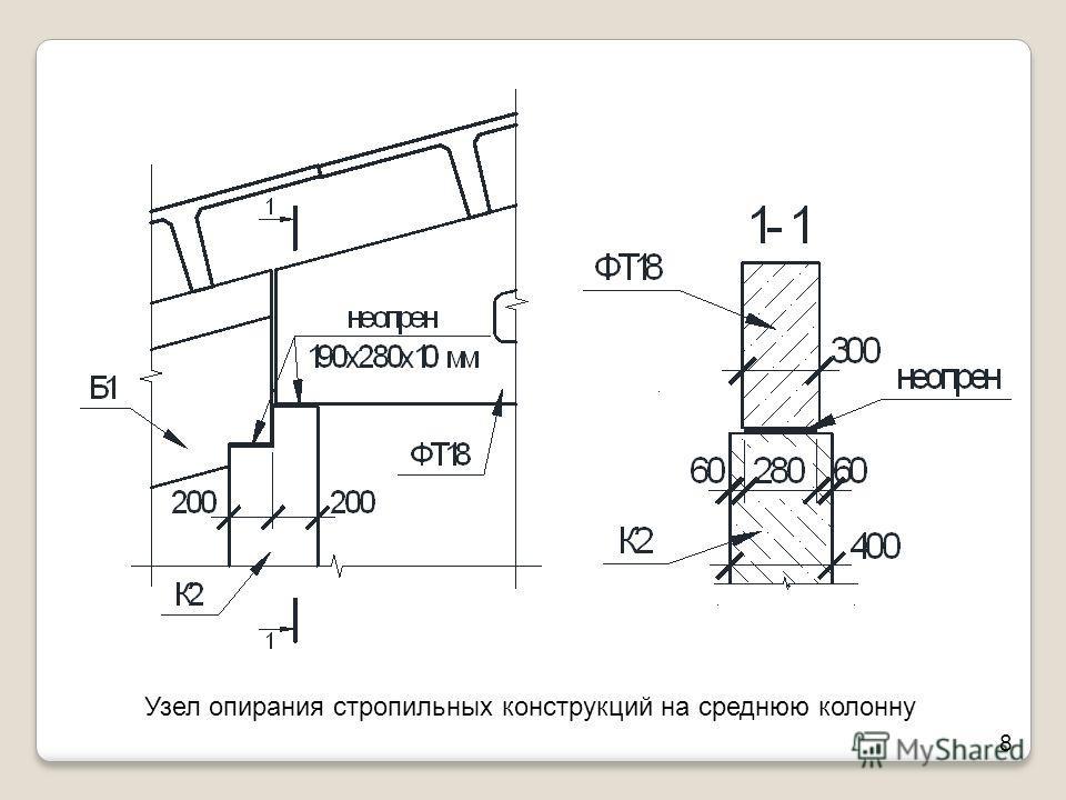 Узел опирания стропильных конструкций на среднюю колонну 8