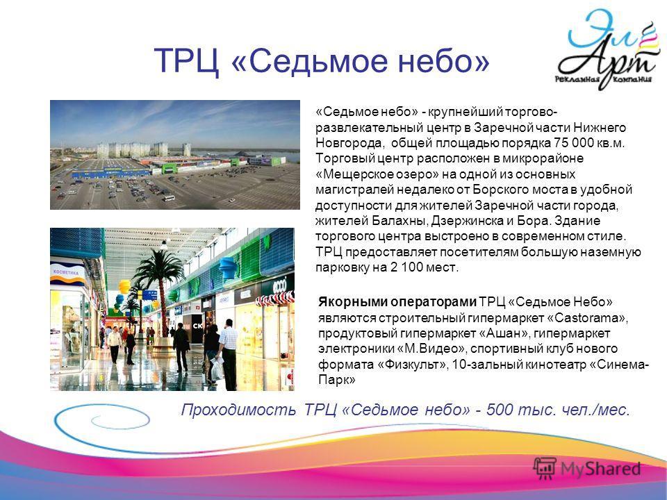 ТРЦ «Седьмое небо» «Седьмое небо» - крупнейший торгово- развлекательный центр в Заречной части Нижнего Новгорода, общей площадью порядка 75 000 кв.м. Торговый центр расположен в микрорайоне «Мещерское озеро» на одной из основных магистралей недалеко