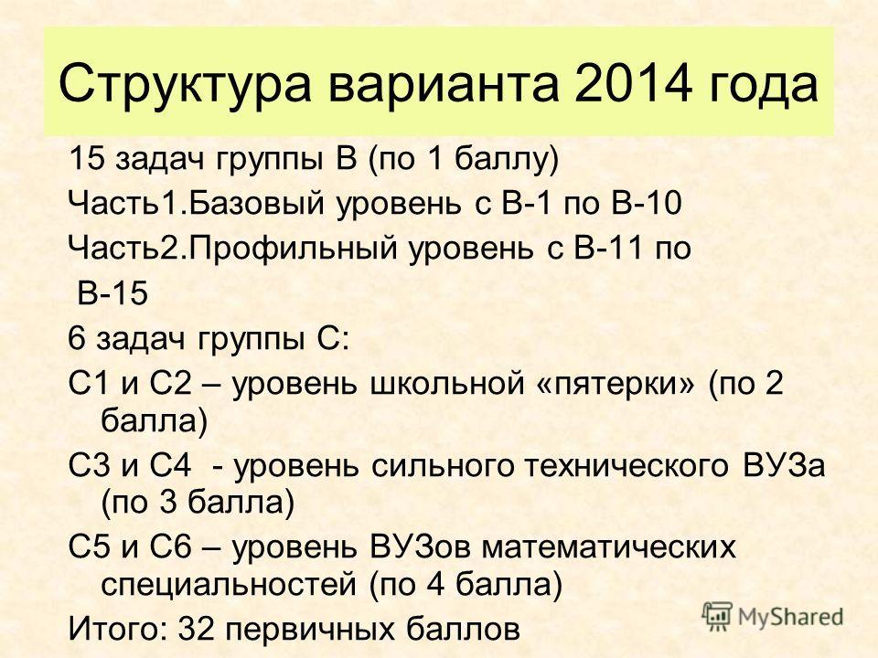 Структура варианта 2014 года 15 задач группы В (по 1 баллу) Часть1.Базовый уровень с В-1 по В-10 Часть2.Профильный уровень с В-11 по В-15 6 задач группы С: С1 и С2 – уровень школьной «пятерки» (по 2 балла) С3 и С4 - уровень сильного технического ВУЗа