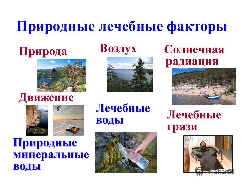 Природные лечебные факторы Природа Солнечная радиация Воздух Природные минеральные воды Движение Лечебные воды Лечебные грязи