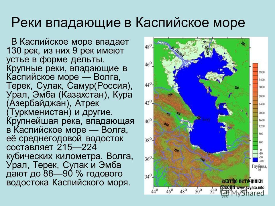 Реки впадающие в Каспийское море В Каспийское море впадает 130 рек, из них 9 рек имеют устье в форме дельты. Крупные реки, впадающие в Каспийское море Волга, Терек, Сулак, Самур(Россия), Урал, Эмба (Казахстан), Кура (Азербайджан), Атрек (Туркменистан