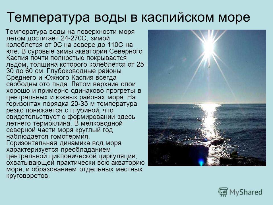 Температура воды в каспийском море Температура воды на поверхности моря летом достигает 24-270С, зимой колеблется от 0С на севере до 110С на юге. В суровые зимы акватория Северного Каспия почти полностью покрывается льдом, толщина которого колеблется