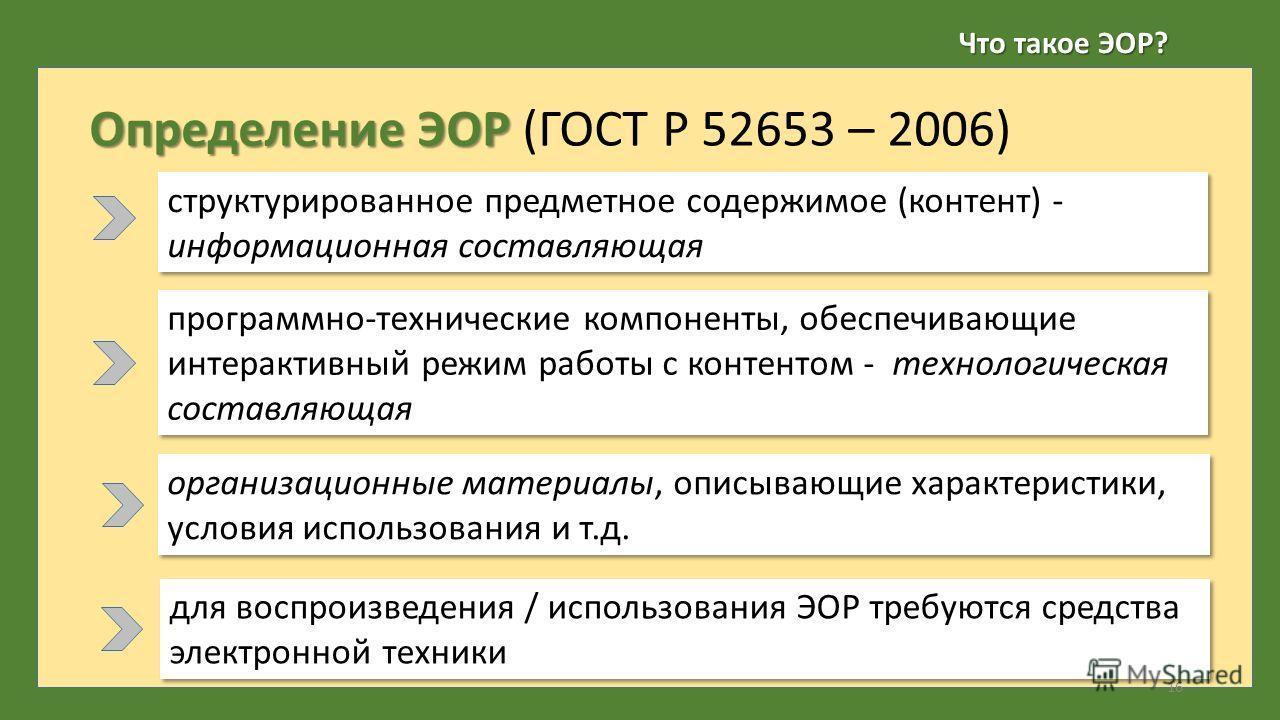 Что такое ЭОР? Определение ЭОР Определение ЭОР (ГОСТ Р 52653 – 2006) структурированное предметное содержимое (контент) - информационная составляющая 16 организационные материалы, описывающие характеристики, условия использования и т.д. программно-тех