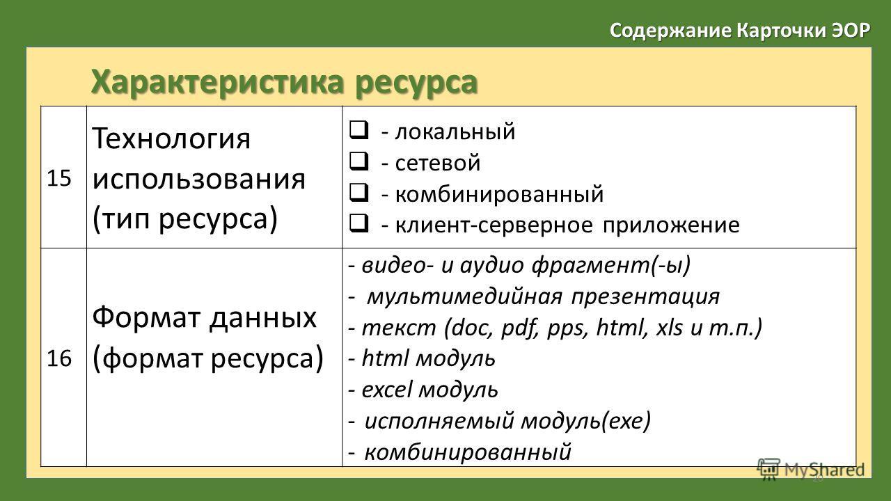 Содержание Карточки ЭОР Характеристика ресурса 15 Технология использования (тип ресурса) - локальный - сетевой - комбинированный - клиент-серверное приложение 16 Формат данных ( формат ресурса ) - видео- и аудио фрагмент(-ы) - мультимедийная презента