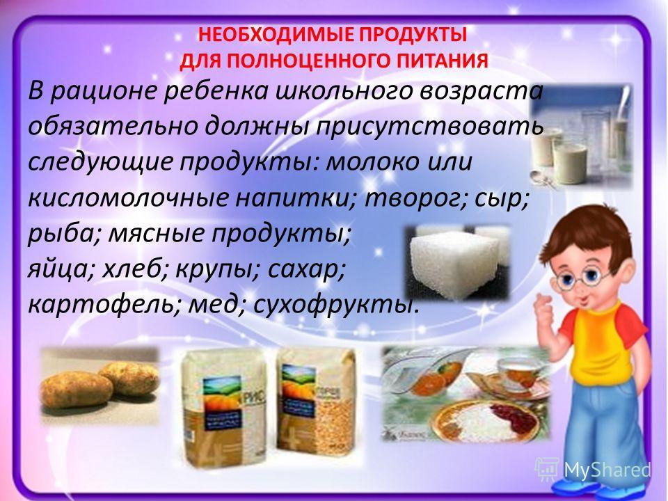 НЕОБХОДИМЫЕ ПРОДУКТЫ ДЛЯ ПОЛНОЦЕННОГО ПИТАНИЯ В рационе ребенка школьного возраста обязательно должны присутствовать следующие продукты: молоко или кисломолочные напитки; творог; сыр; рыба; мясные продукты; яйца; хлеб; крупы; сахар; картофель; мед; с