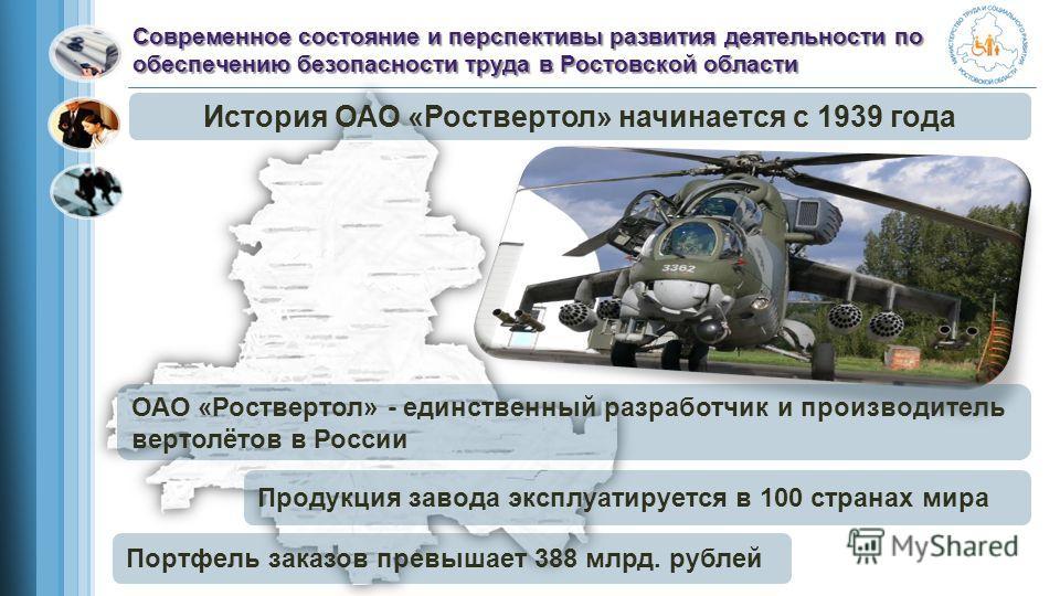 История ОАО «Роствертол» начинается с 1939 года Современное состояние и перспективы развития деятельности по обеспечению безопасности труда в Ростовской области ОАО «Роствертол» - единственный разработчик и производитель вертолётов в России Продукция