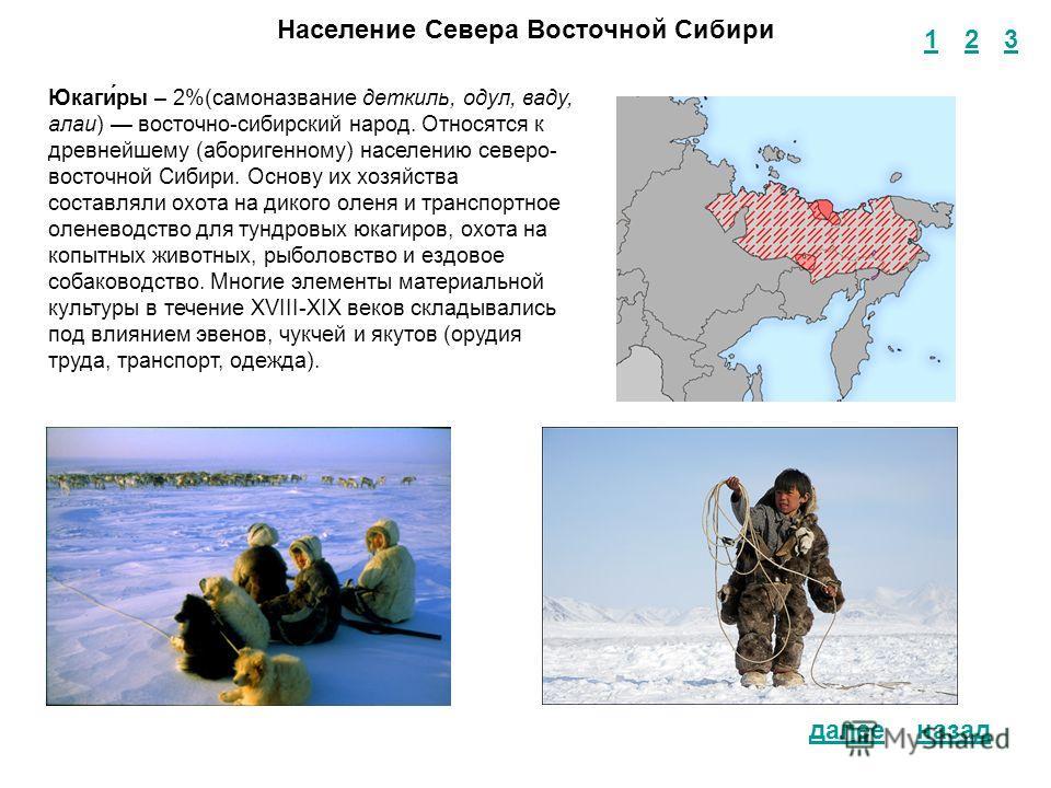 1 2 3 назад Население Севера Восточной Сибири Юкаги́ры – 2%(самоназвание деткиль, одул, ваду, алаи) восточно-сибирский народ. Относятся к древнейшему (аборигенному) населению северо- восточной Сибири. Основу их хозяйства составляли охота на дикого ол