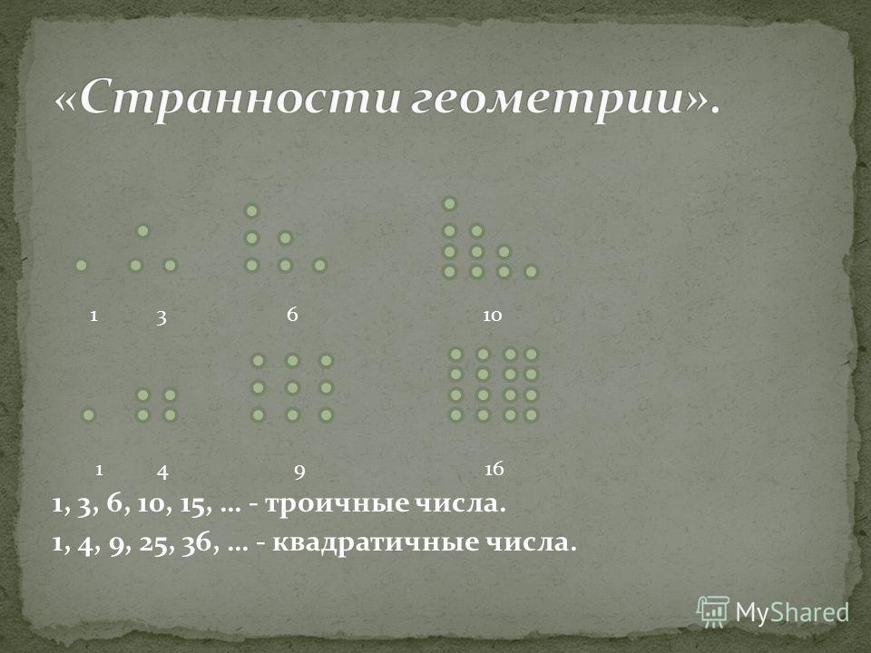 1 3 6 10 1 4 9 16 1, 3, 6, 10, 15, … - троичные числа. 1, 4, 9, 25, 36, … - квадратичные числа.