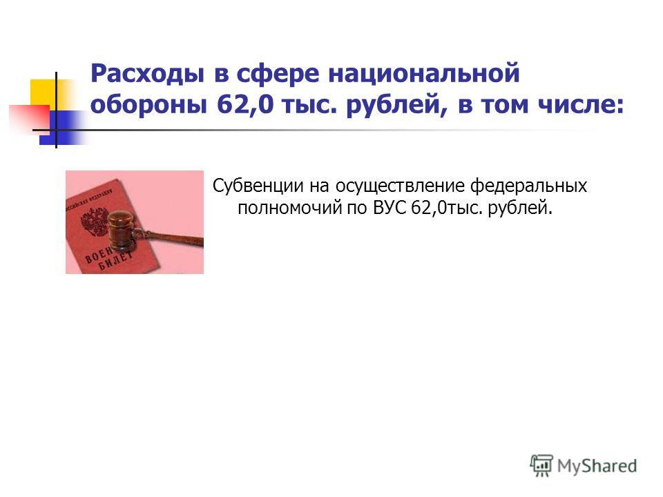 Расходы в сфере национальной обороны 62,0 тыс. рублей, в том числе: Субвенции на осуществление федеральных полномочий по ВУС 62,0тыс. рублей.