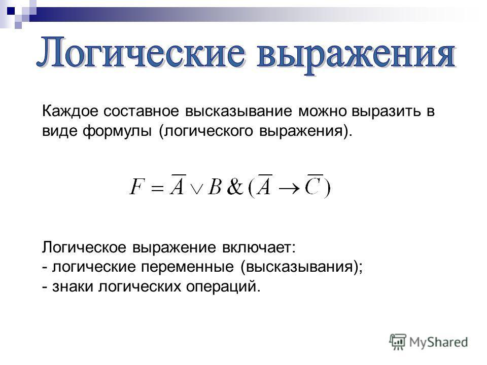 Каждое составное высказывание можно выразить в виде формулы (логического выражения). Логическое выражение включает: - логические переменные (высказывания); - знаки логических операций.