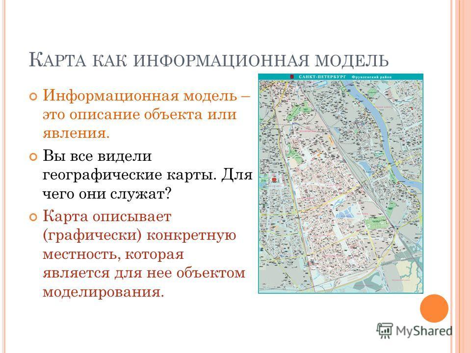 К АРТА КАК ИНФОРМАЦИОННАЯ МОДЕЛЬ Информационная модель – это описание объекта или явления. Вы все видели географические карты. Для чего они служат? Карта описывает (графически) конкретную местность, которая является для нее объектом моделирования.