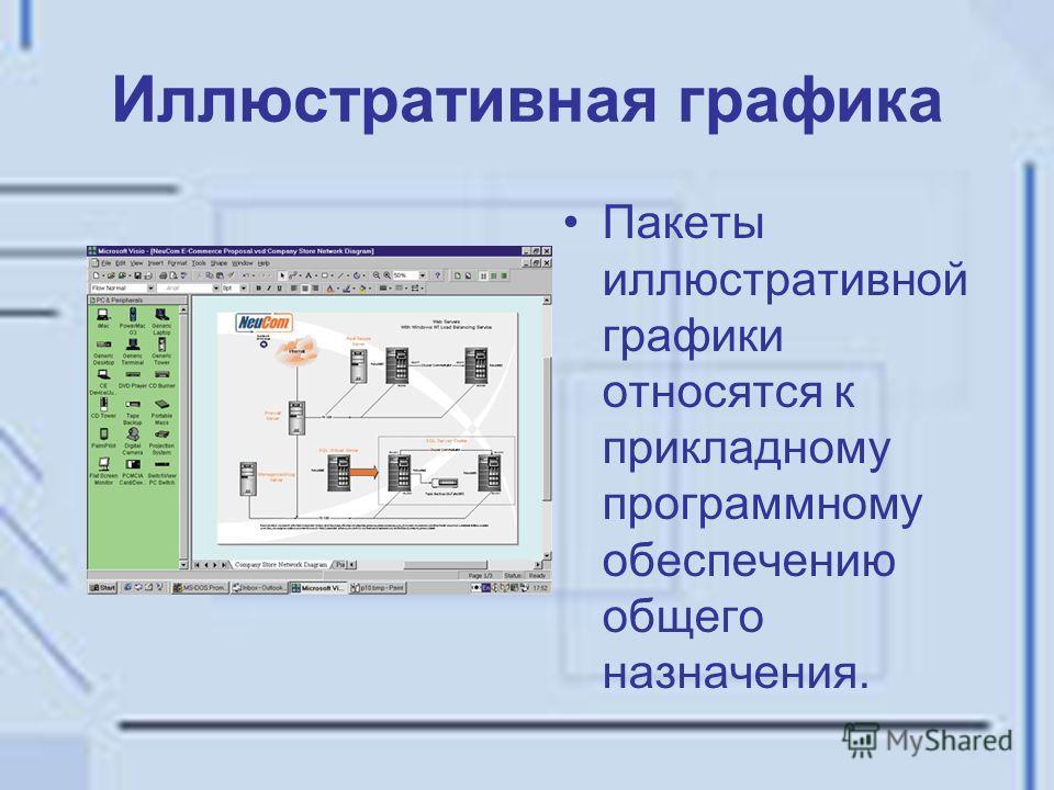 Иллюстративная графика Пакеты иллюстративной графики относятся к прикладному программному обеспечению общего назначения.