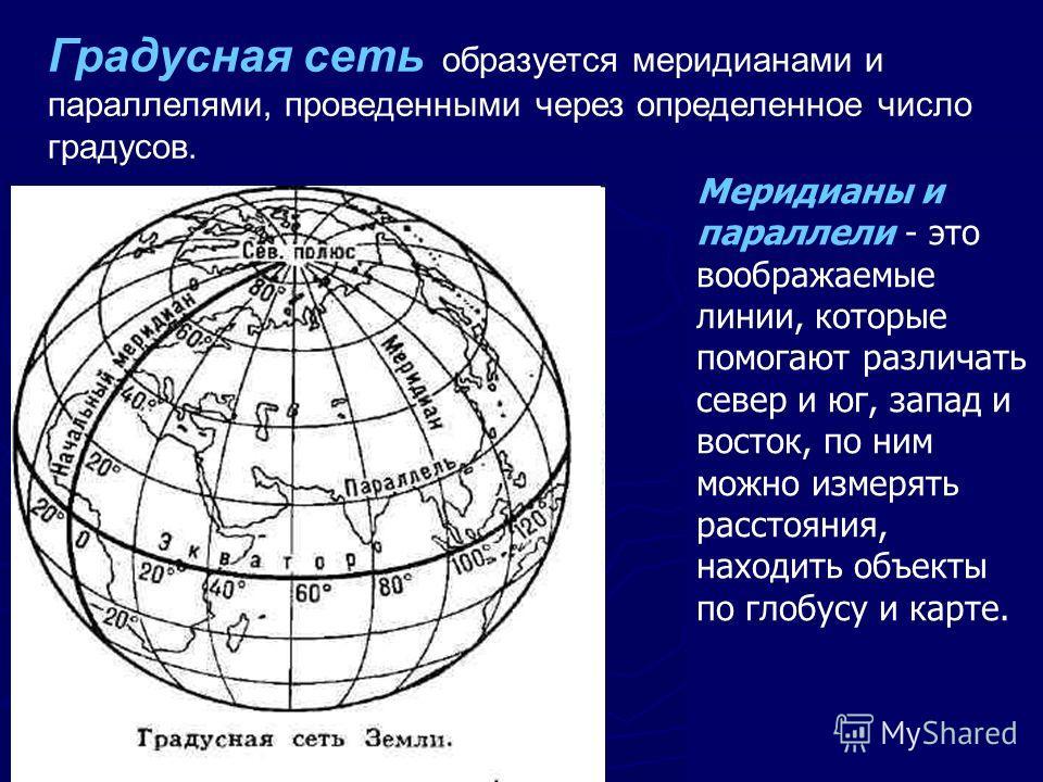 Градусная сеть образуется меридианами и параллелями, проведенными через определенное число градусов. Меридианы и параллели - это воображаемые линии, которые помогают различать север и юг, запад и восток, по ним можно измерять расстояния, находить объ