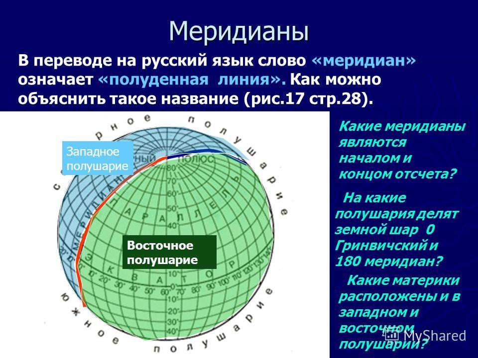 Меридианы В переводе на русский язык слово «меридиан» означает «полуденная линия». Как можно объяснить такое название (рис.17 стр.28). Какие меридианы являются началом и концом отсчета? На какие полушария делят земной шар 0 Гринвичский и 180 меридиан