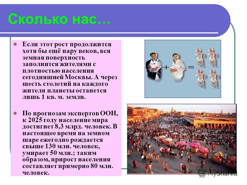 Сколько нас… Если этот рост продолжится хотя бы ещё пару веков, вся земная поверхность заполнится жителями с плотностью населения сегодняшней Москвы. А через шесть столетий на каждого жителя планеты останется лишь 1 кв. м. земли. По прогнозам эксперт