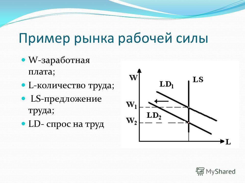 Пример рынка рабочей силы W-заработная плата; L-количество труда; LS-предложение труда; LD- спрос на труд