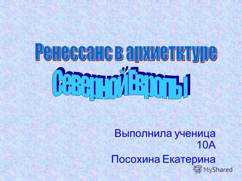 Выполнила ученица 10А Посохина Екатерина
