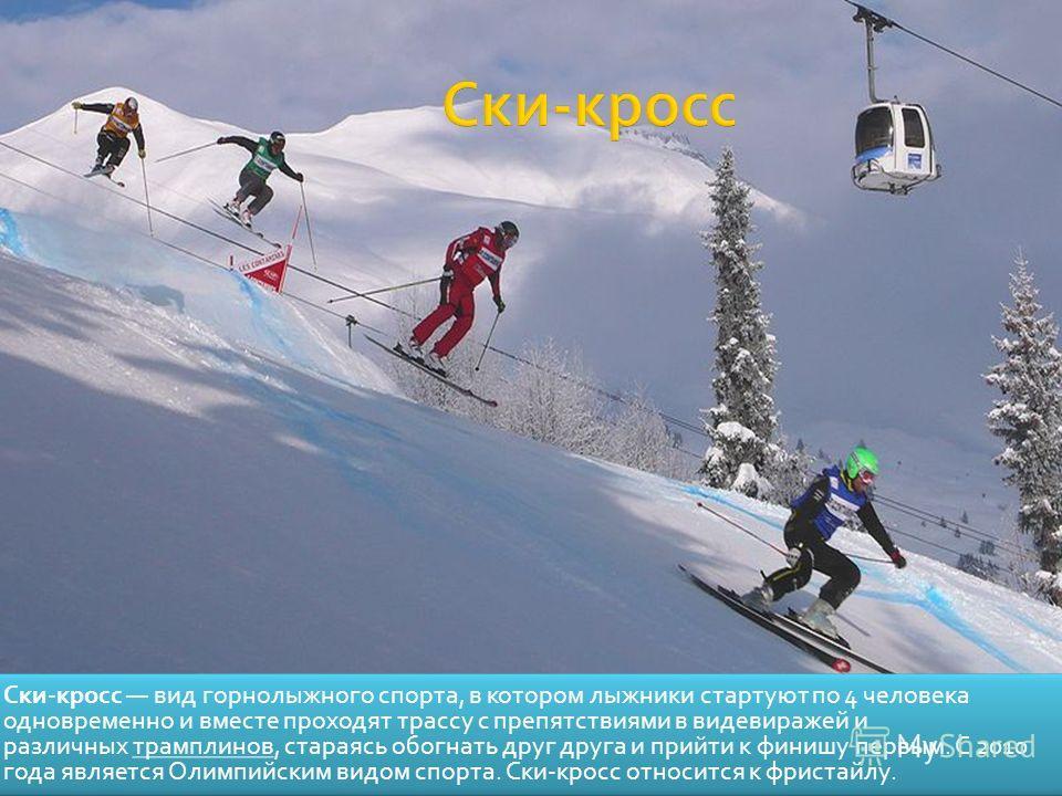 Ски-кросс вид горнолыжного спорта, в котором лыжники стартуют по 4 человека одновременно и вместе проходят трассу с препятствиями в видевиражей и различных трамплинов, стараясь обогнать друг друга и прийти к финишу первым. С 2010 года является Олимпи
