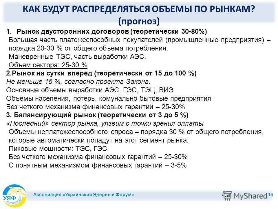 КАК БУДУТ РАСПРЕДЕЛЯТЬСЯ ОБЪЕМЫ ПО РЫНКАМ? (прогноз) Ассоциация «Украинский Ядерный Форум» 16 1.Рынок двусторонних договоров (теоретически 30-80%) Большая часть платежеспособных покупателей (промышленные предприятия) – порядка 20-30 % от общего объем