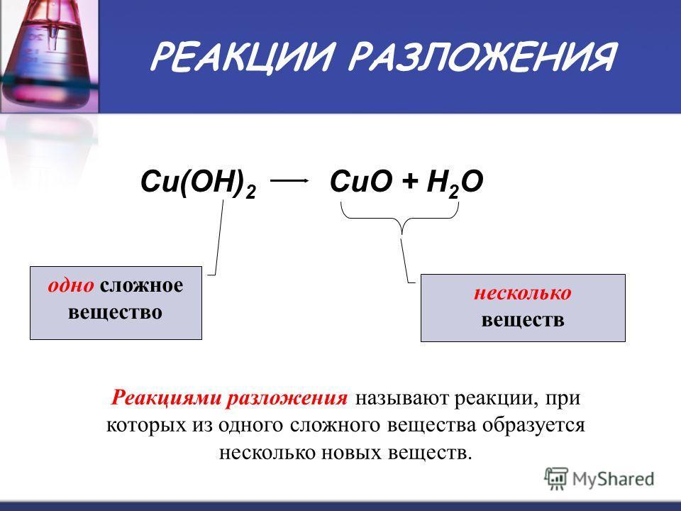 РЕАКЦИИ РАЗЛОЖЕНИЯ Cu(OH) 2 CuO + H 2 O одно сложное вещество несколько веществ Реакциями разложения называют реакции, при которых из одного сложного вещества образуется несколько новых веществ.