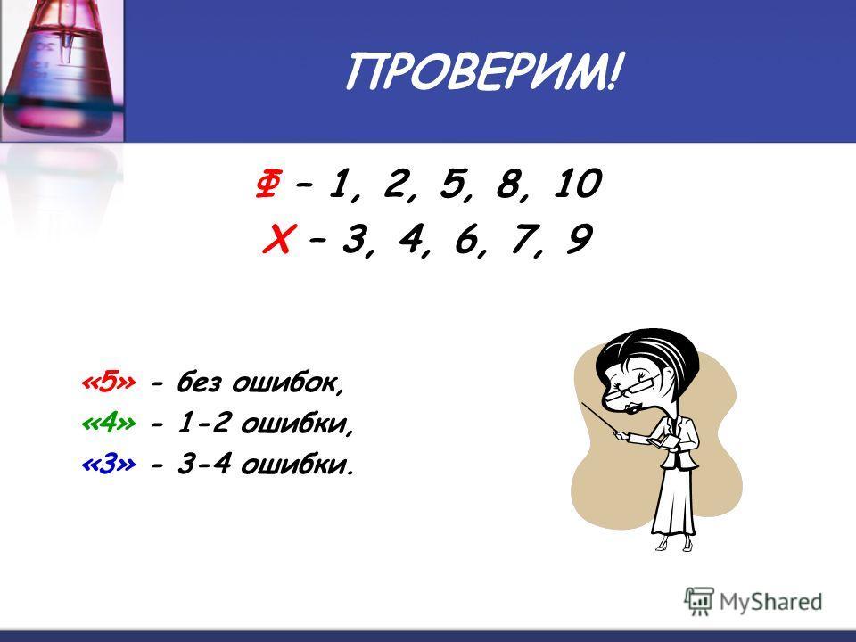 ПРОВЕРИМ! Ф – 1, 2, 5, 8, 10 Х – 3, 4, 6, 7, 9 «5» - без ошибок, «4» - 1-2 ошибки, «3» - 3-4 ошибки.