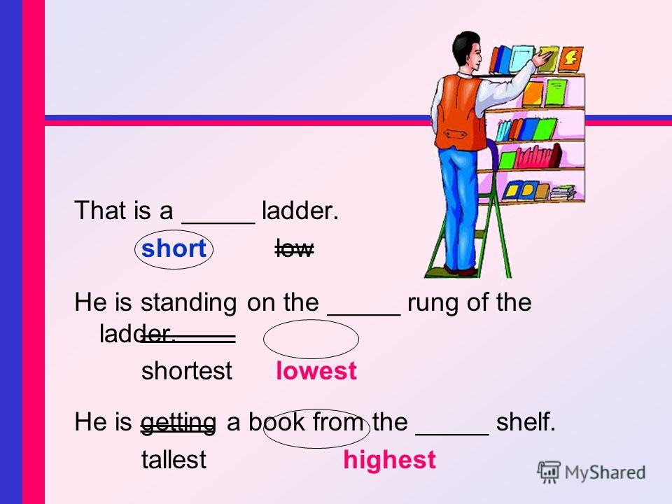That is a _____ ladder. shortlow He is standing on the _____ rung of the ladder. shortestlowest He is getting a book from the _____ shelf. tallesthighest