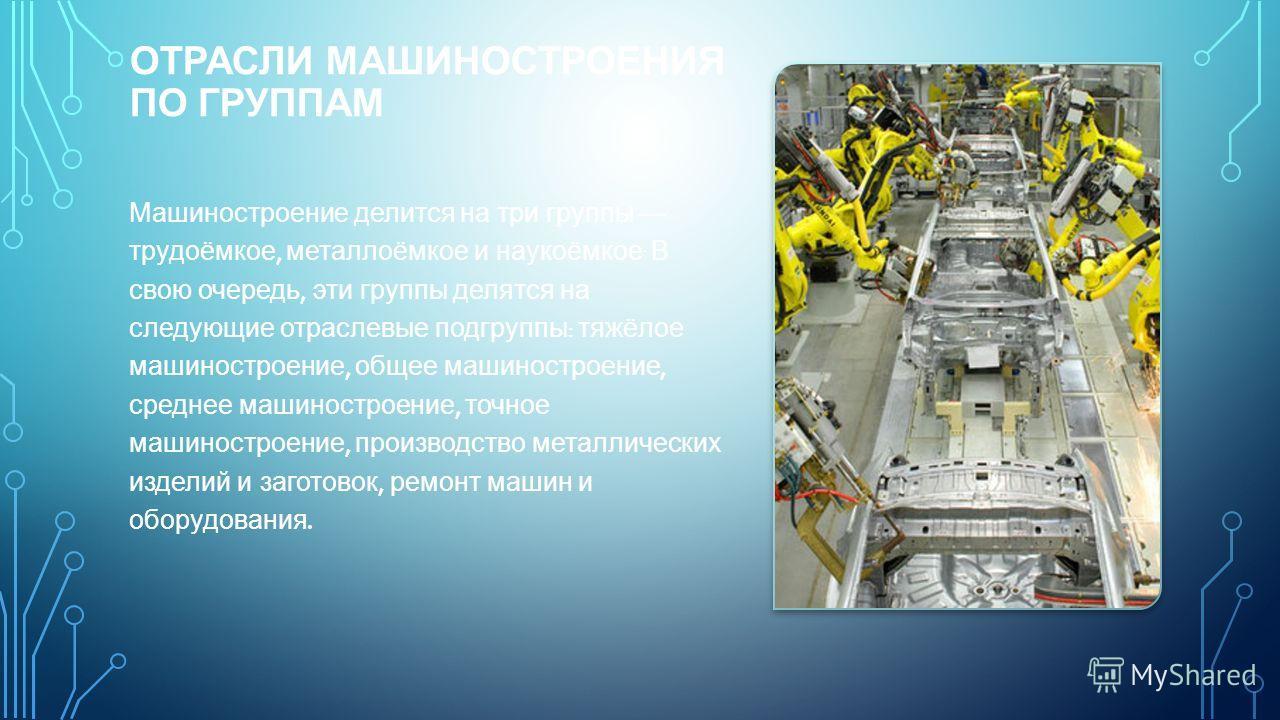 ОТРАСЛИ МАШИНОСТРОЕНИЯ ПО ГРУППАМ Машиностроение делится на три группы трудоёмкое, металлоёмкое и наукоёмкое. В свою очередь, эти группы делятся на следующие отраслевые подгруппы : тяжёлое машиностроение, общее машиностроение, среднее машиностроение,