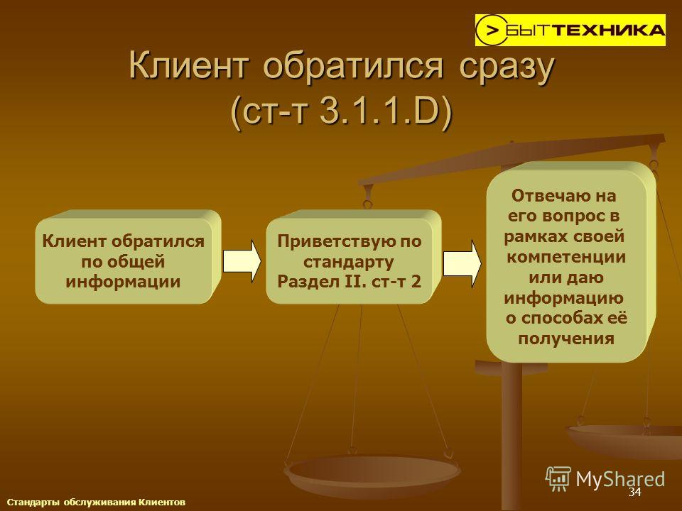 34 Клиент обратился сразу (ст-т 3.1.1.D) Клиент обратился по общей информации Приветствую по стандарту Раздел II. ст-т 2 Отвечаю на его вопрос в рамках своей компетенции или даю информацию о способах её получения Стандарты обслуживания Клиентов