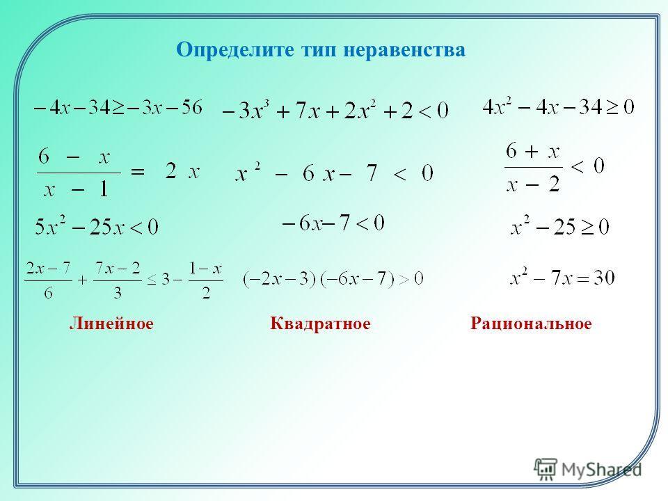 Определите тип неравенства ЛинейноеКвадратноеРациональное