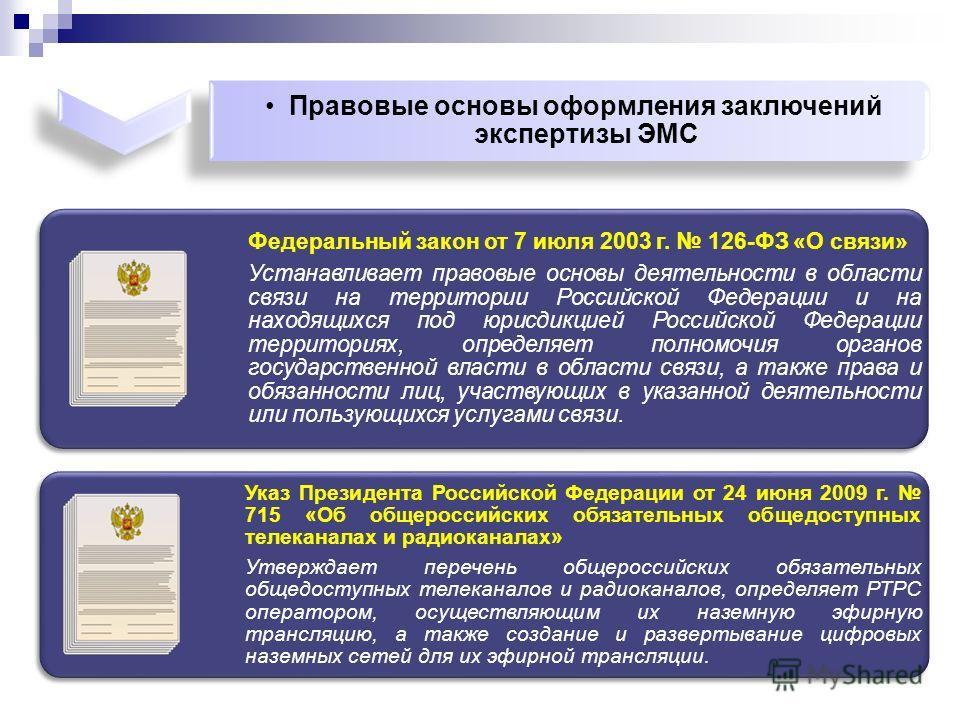 Федеральный закон от 7 июля 2003 г. 126-ФЗ «О связи» Устанавливает правовые основы деятельности в области связи на территории Российской Федерации и на находящихся под юрисдикцией Российской Федерации территориях, определяет полномочия органов госуда