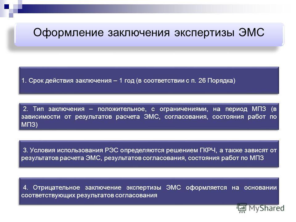 Оформление заключения экспертизы ЭМС 2. Т ип заключения – положительное, с ограничениями, на период МПЗ (в зависимости от результатов расчета ЭМС, согласования, состояния работ по МПЗ) 3. У словия использования РЭС определяются решением ГКРЧ, а также