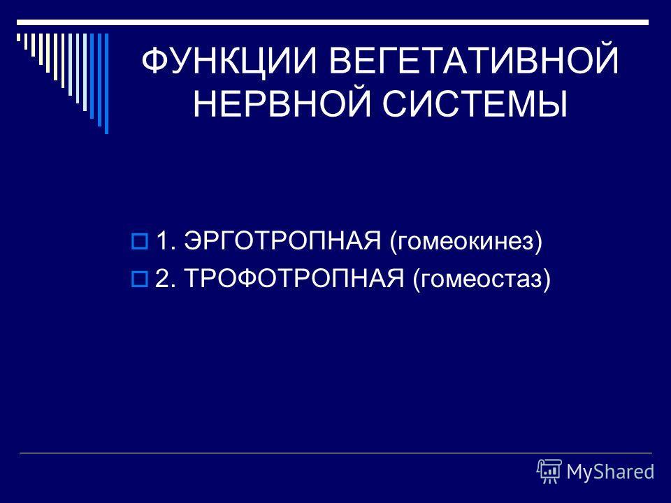 ФУНКЦИИ ВЕГЕТАТИВНОЙ НЕРВНОЙ СИСТЕМЫ 1. ЭРГОТРОПНАЯ (гомеокинез) 2. ТРОФОТРОПНАЯ (гомеостаз)