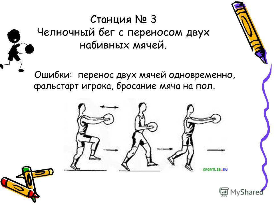 Станция 3 Челночный бег с переносом двух набивных мячей. Ошибки: перенос двух мячей одновременно, фальстарт игрока, бросание мяча на пол.