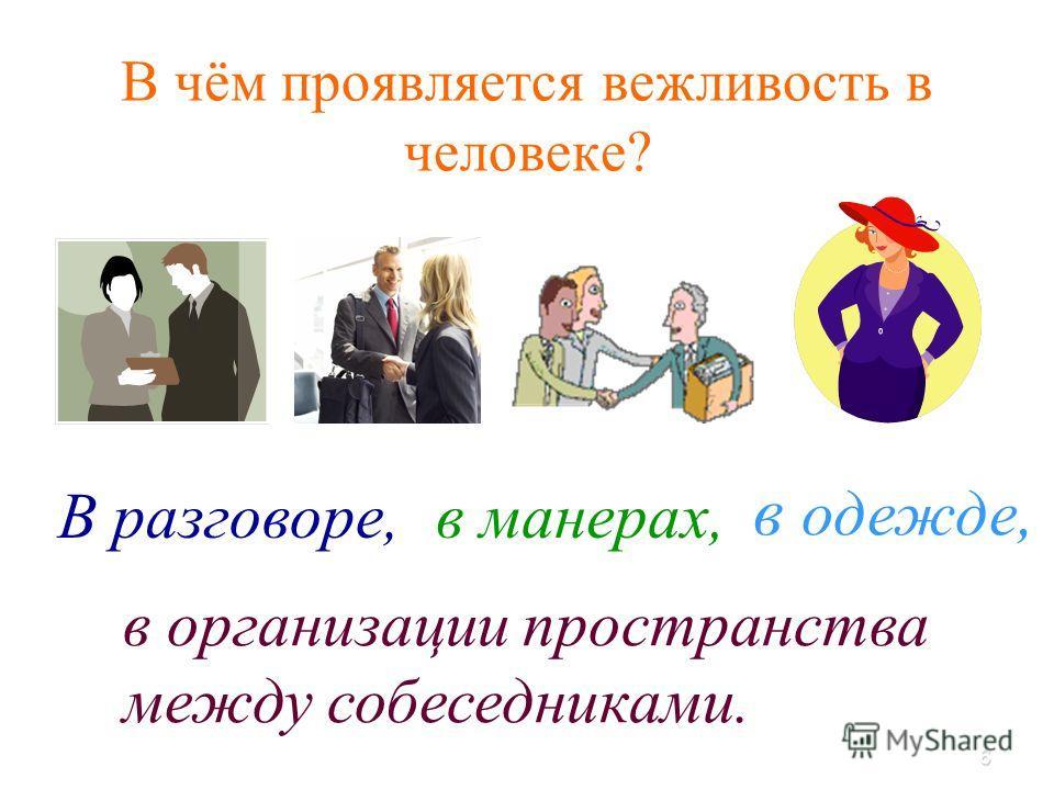 6 В чём проявляется вежливость в человеке? в организации пространства между собеседниками. в одежде, В разговоре,в манерах,