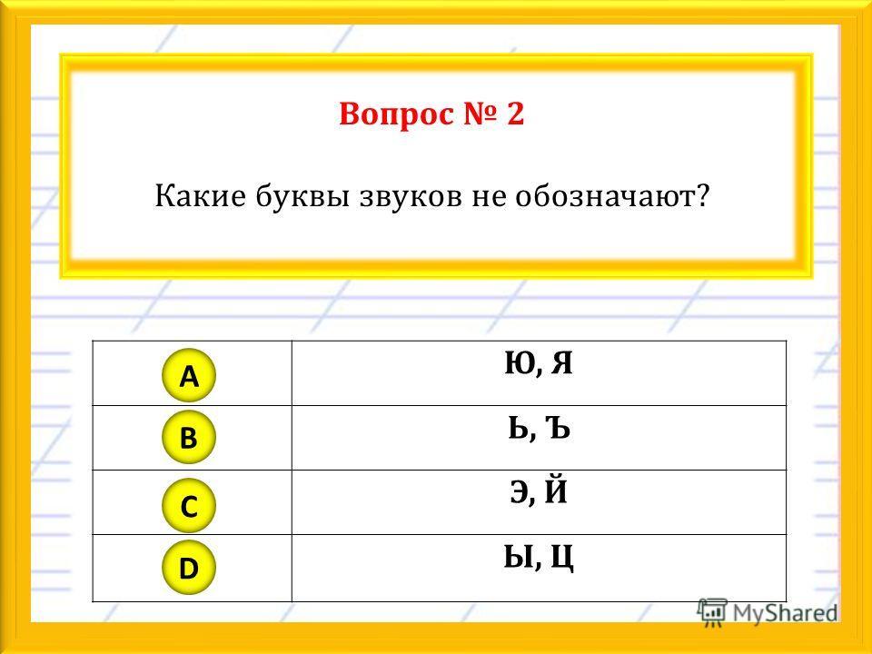 Вопрос 2 Какие буквы звуков не обозначают? Ю, Я Ь, Ъ Э, Й Ы, Ц A B C D