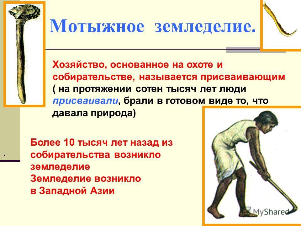 Мотыжное земледелие. Хозяйство, основанное на охоте и собирательстве, называется присваивающим ( на протяжении сотен тысяч лет люди присваивали, брали в готовом виде то, что давала природа). Более 10 тысяч лет назад из собирательства возникло земледе