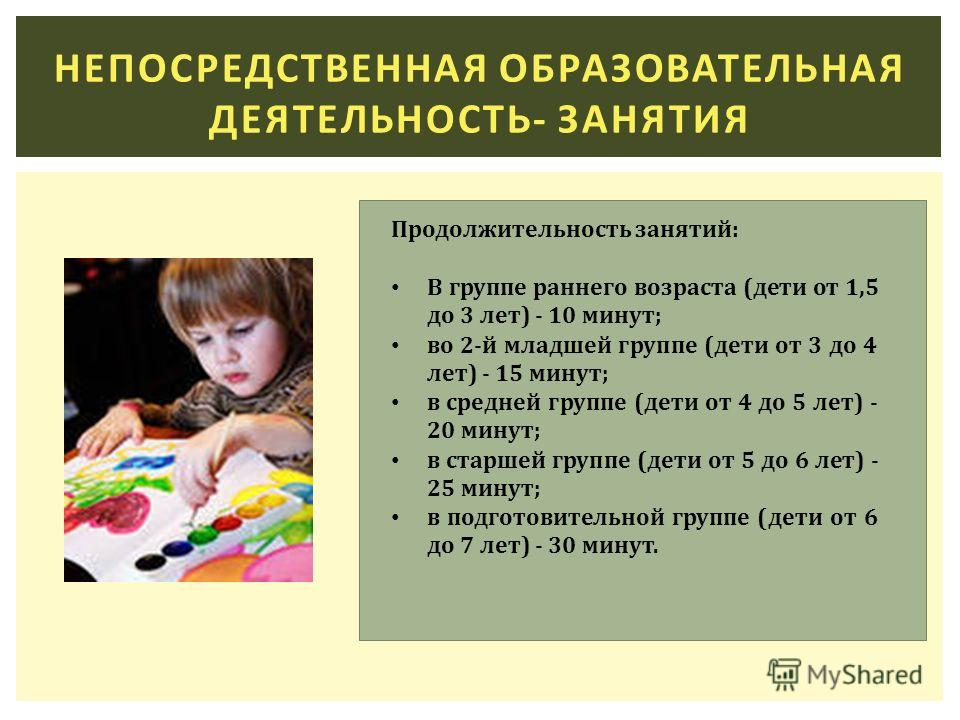 НЕПОСРЕДСТВЕННАЯ ОБРАЗОВАТЕЛЬНАЯ ДЕЯТЕЛЬНОСТЬ- ЗАНЯТИЯ Продолжительность занятий: В группе раннего возраста (дети от 1,5 до 3 лет) - 10 минут; во 2-й младшей группе (дети от 3 до 4 лет) - 15 минут; в средней группе (дети от 4 до 5 лет) - 20 минут; в