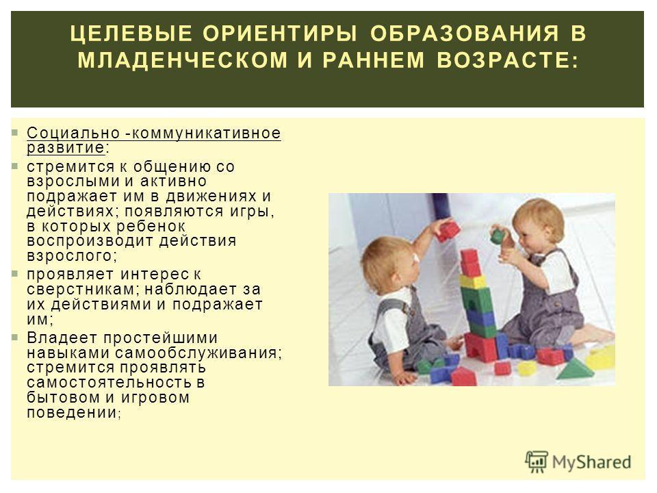 ЦЕЛЕВЫЕ ОРИЕНТИРЫ ОБРАЗОВАНИЯ В МЛАДЕНЧЕСКОМ И РАННЕМ ВОЗРАСТЕ: Социально -коммуникативное развитие: стремится к общению со взрослыми и активно подражает им в движениях и действиях; появляются игры, в которых ребенок воспроизводит действия взрослого;