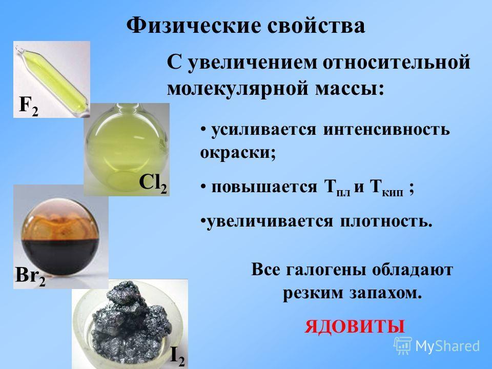 Физические свойства F2F2 Cl 2 Br 2 I2I2 C увеличением относительной молекулярной массы: усиливается интенсивность окраски; повышается Т пл и Т кип ; увеличивается плотность. Все галогены обладают резким запахом. ЯДОВИТЫ