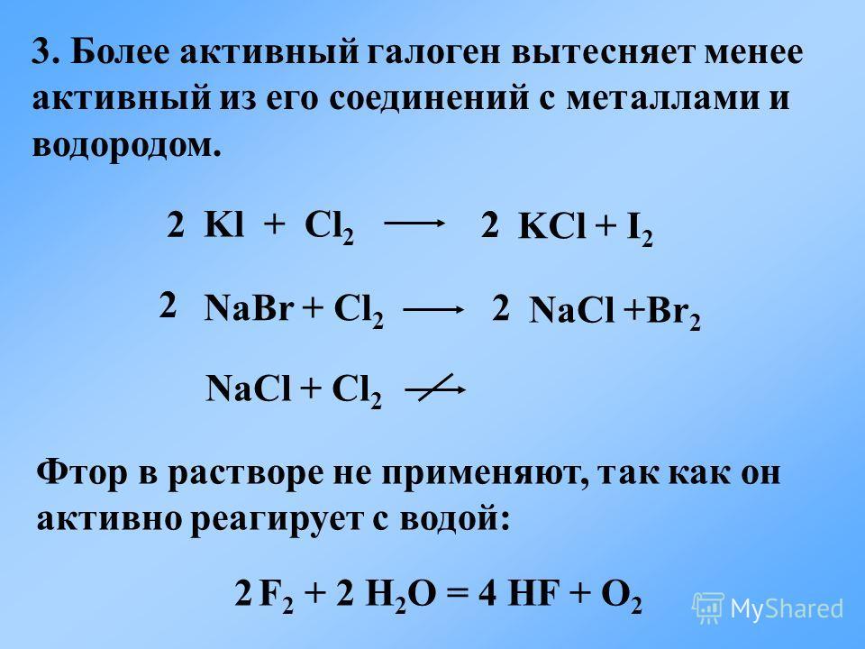 Kl + Cl 2 KСl + I 2 2 NaBr + Cl 2 NaСl +Br 2 2 NaCl + Cl 2 3. Более активный галоген вытесняет менее активный из его соединений с металлами и водородом. Фтор в растворе не применяют, так как он активно реагирует с водой: 2 F 2 + 2 H 2 O = 4 HF + O 2