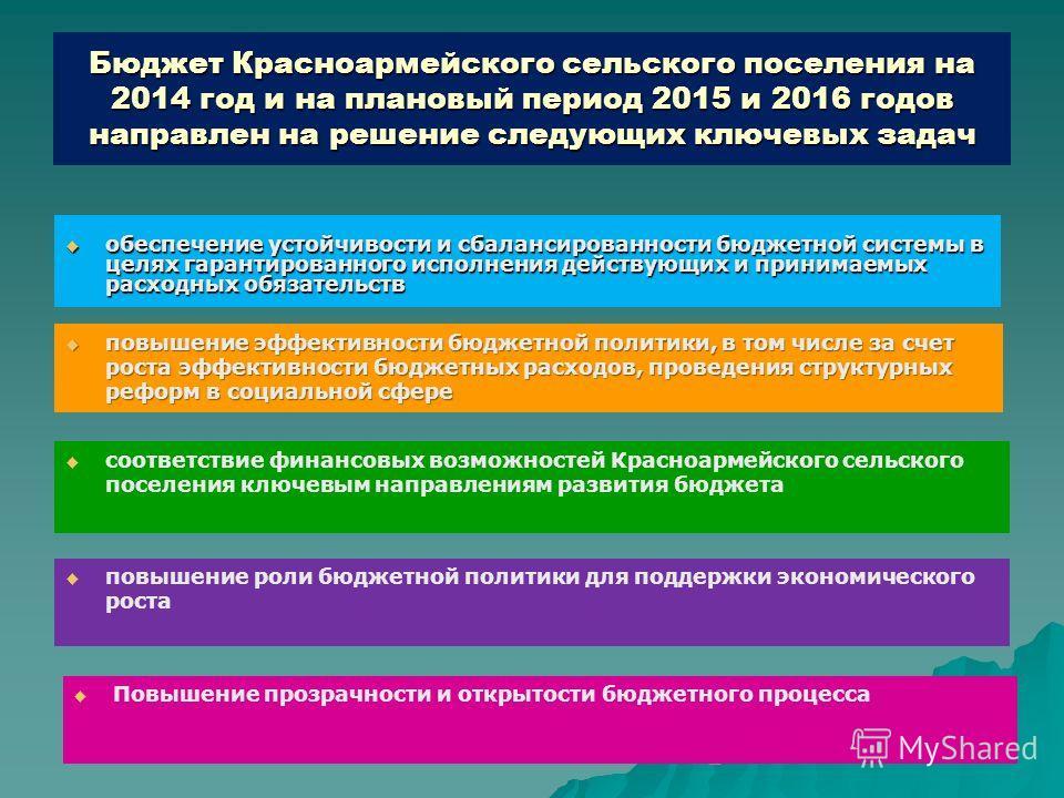 Бюджет Красноармейского сельского поселения на 2014 год и на плановый период 2015 и 2016 годов направлен на решение следующих ключевых задач обеспечение устойчивости и сбалансированности бюджетной системы в целях гарантированного исполнения действующ