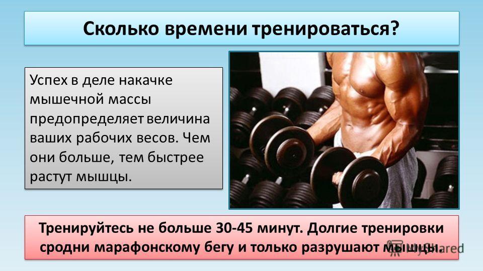 Сколько времени тренироваться? Успех в деле накачке мышечной массы предопределяет величина ваших рабочих весов. Чем они больше, тем быстрее растут мышцы. Тренируйтесь не больше 30-45 минут. Долгие тренировки сродни марафонскому бегу и только разрушаю
